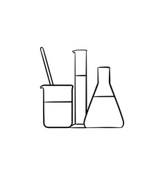 laboratory equipment hand drawn sketch icon vector image