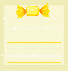 Line paper template with yellow candy vector