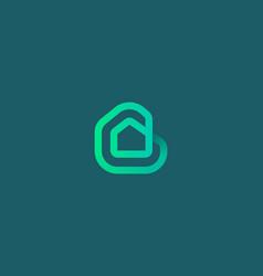 Linear house building loop icon logo vector