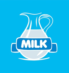 Logo milk in a glass jar vector
