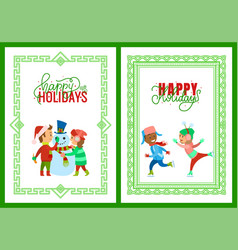 merry christmas happy holidays framed posters vector image