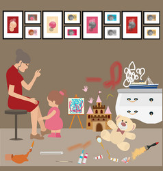 Messy untidy home kids children paint all over vector
