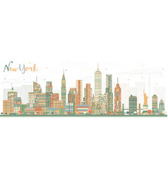 new york usa skyline with color skyscrapers vector image