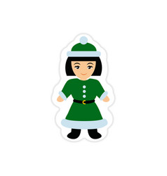 Paper sticker on white background girl dressed as vector