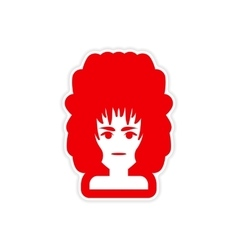 Paper sticker on white background women hairstyles vector