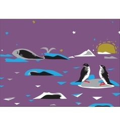 Penquins And Whale vector
