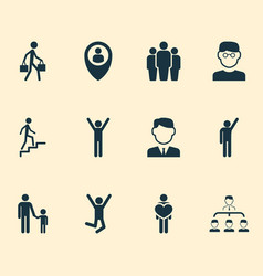 people icons set with climbing stairs pupil vector image