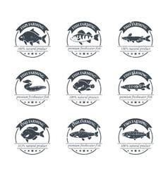 Perfect set fish farming logos vector