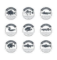 Perfect set of fish farming logos vector image