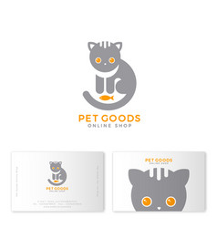Pet goods logo meal toys online shop business card vector