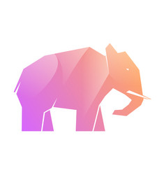 Pink and purple gradient elephant on white vector