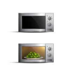 realistic microwave ovens set vector image