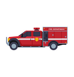 Red fire engine emergency service rescue vehicle vector