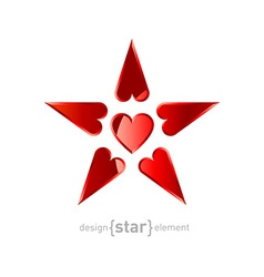 Red Star made by hearts vector