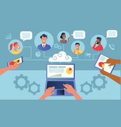 Remote teamwork concept vector