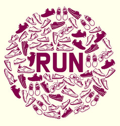 Run faster lettering poster running shoes vector