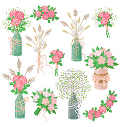 Rustic bouquets set vector