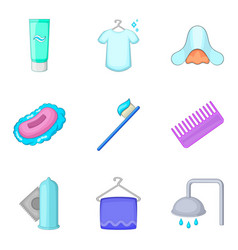 sanitary cleaning icons set cartoon style vector image