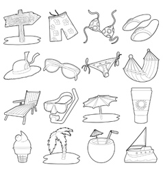 Sea rest icons set cartoon outline style vector