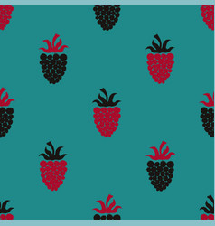 seamless pattern with blackberry and raspberry vector image