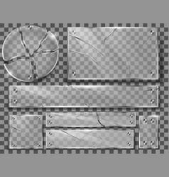 set broken transparent glass plates vector image