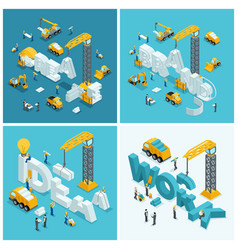 set isometric construction concepts vector image
