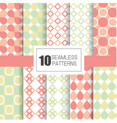 Set of 10 seamless patterns with geometry design vector