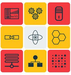 Set of 9 robotics icons includes controlling vector