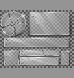 Set of broken transparent glass plates vector