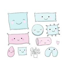 Set of cute cartoon pillows vector