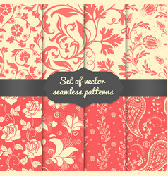 Set of flower seamless pattern elements vector image