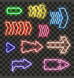 Set of glowing neon arrows with different colors vector