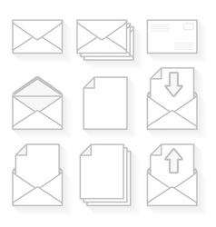 Set of icons envelopes and paper vector image