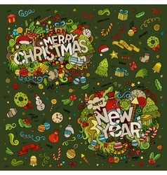 Set of Merry Christmas and New Year hand lettering vector image