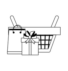 Shopping basket with gift box and bag in black and vector