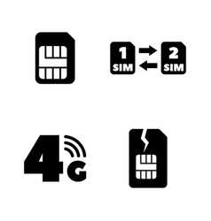 Sim card mobile operator simple related icons vector