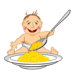 smiling baby which eats with a spoon porridge vector image