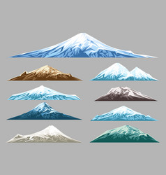 Snow mountains set for logo vector