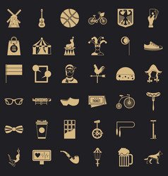 sport bicycle icons set simple style vector image