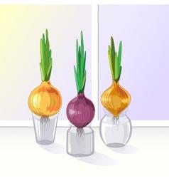 Spring onion set vector image