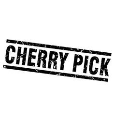 Square grunge black cherry pick stamp vector