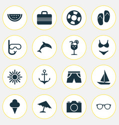 Sun icons set collection of ship dinghy video vector