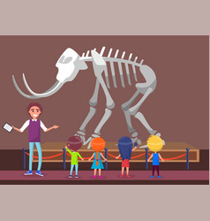 Teacher talking about mammoth in history museum vector