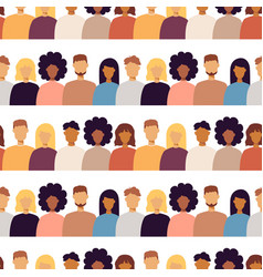 Trendy people portraits seamless pattern vector