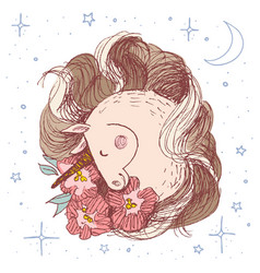 unicorn flower card hand drawn vector image
