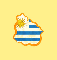 uruguay - map colored with uruguayan flag vector image