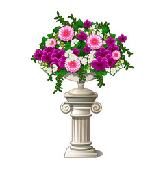 vintage marble vase with flowers in the form of an vector image