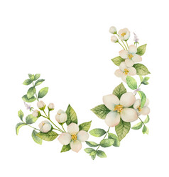 Watercolor wreath of flowers and branches vector