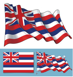 waving flag of the state of hawaii vector image