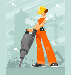 Woman builder in the construction vector